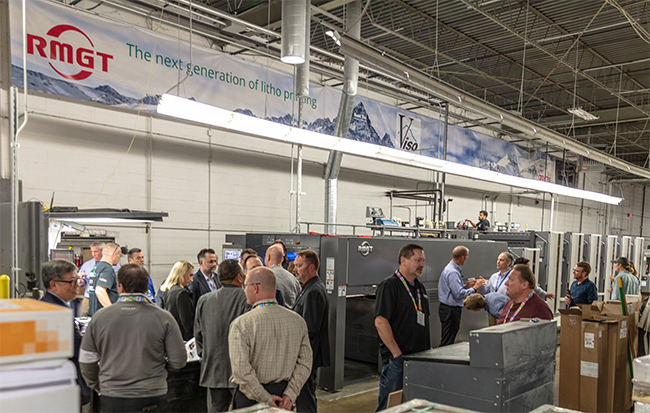 Gathering for launch of VISOgraphic's RMGT 10 press